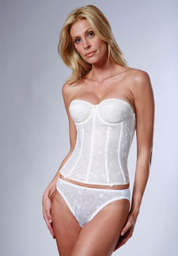 Torsolette Style Embroidered Basque (White)